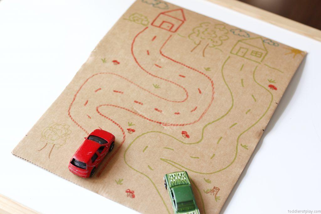cardboard road map