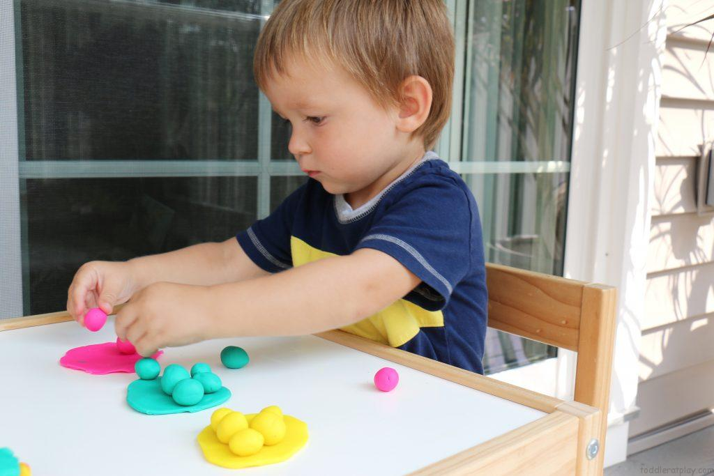 play dough sorting color