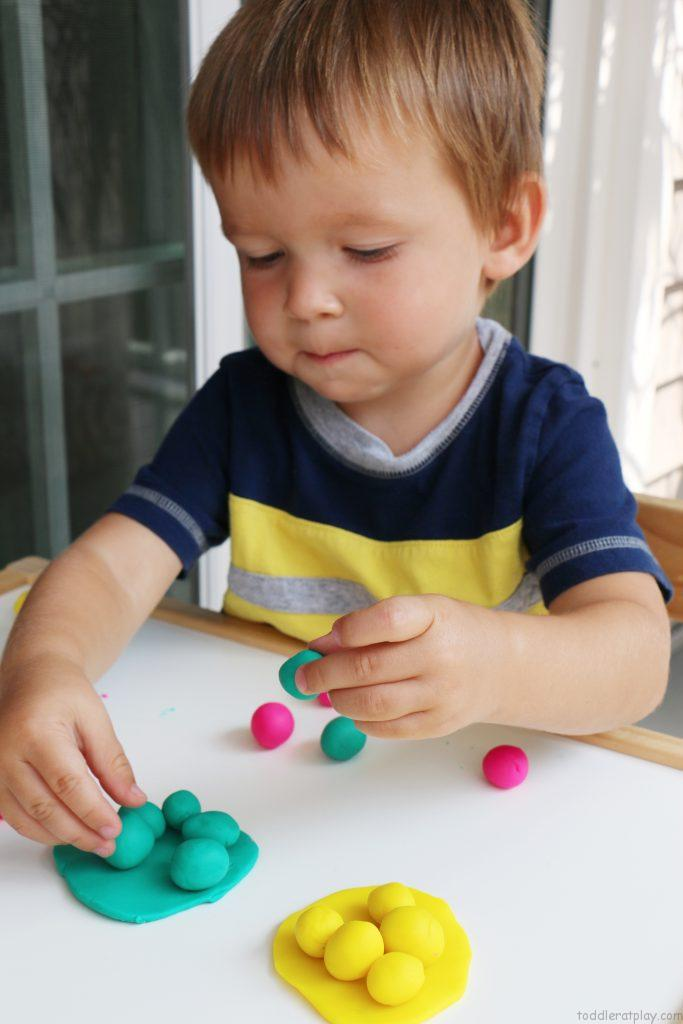 play dough color sorting