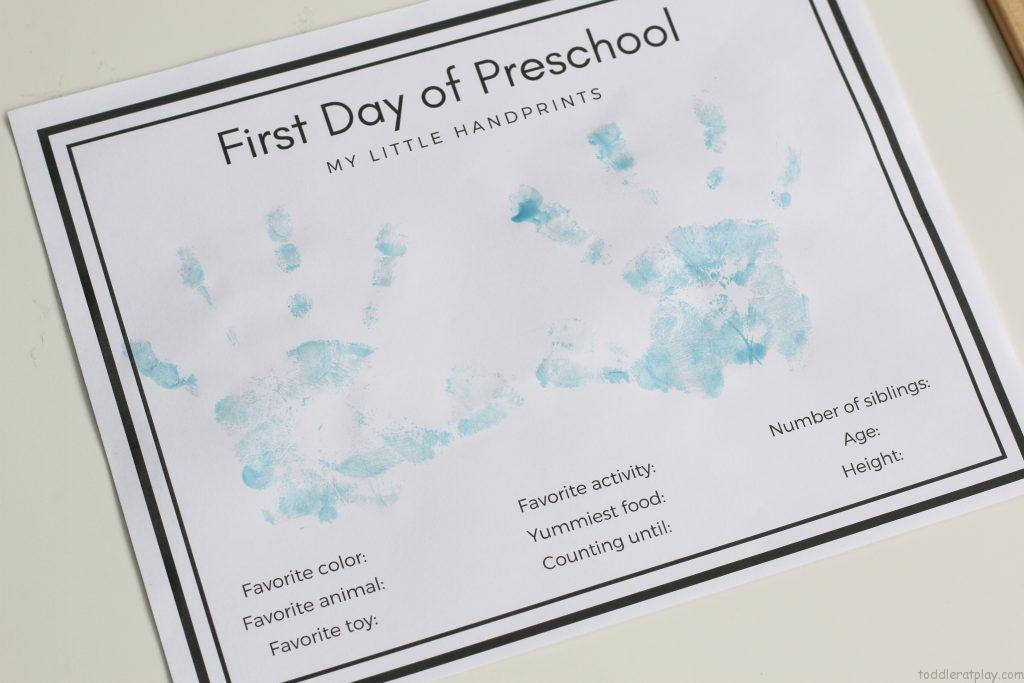 preschool handprints
