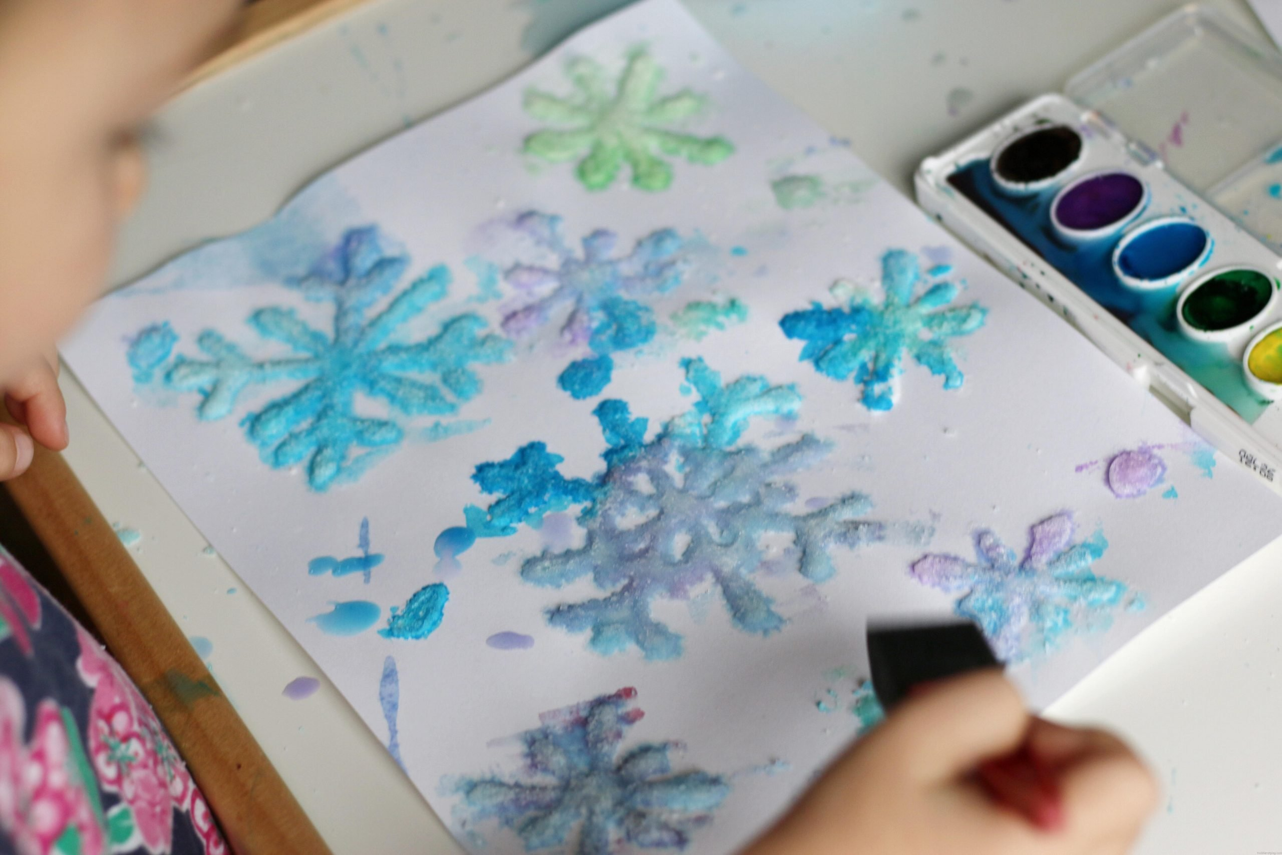Salt Snowflakes Painting Quick Video Tutorial Toddler At