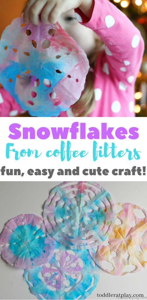 watercolor coffee filter snowflakes