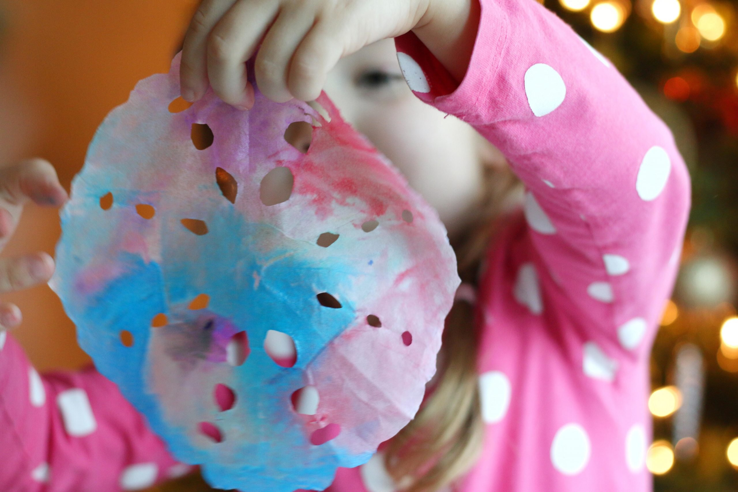 Watercolor Coffee Filter Snowflakes (quick video tutorial)