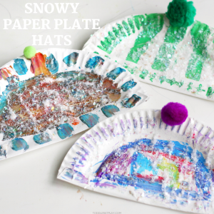 snowy paper plate hats
