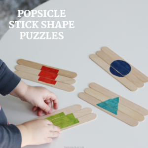popsicle stick shape puzzles- toddler at play