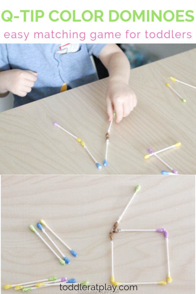 q-tip color dominoes- toddler at play