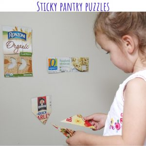 sticky pantry puzzles- toddler at play