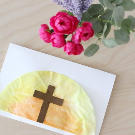 coffee filter easter sunrise card- toddler at play
