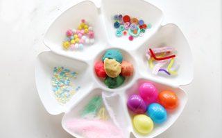 spring play-dough tray- toddler at play (7)