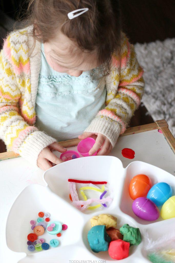 spring play-dough tray- toddler at play (2)