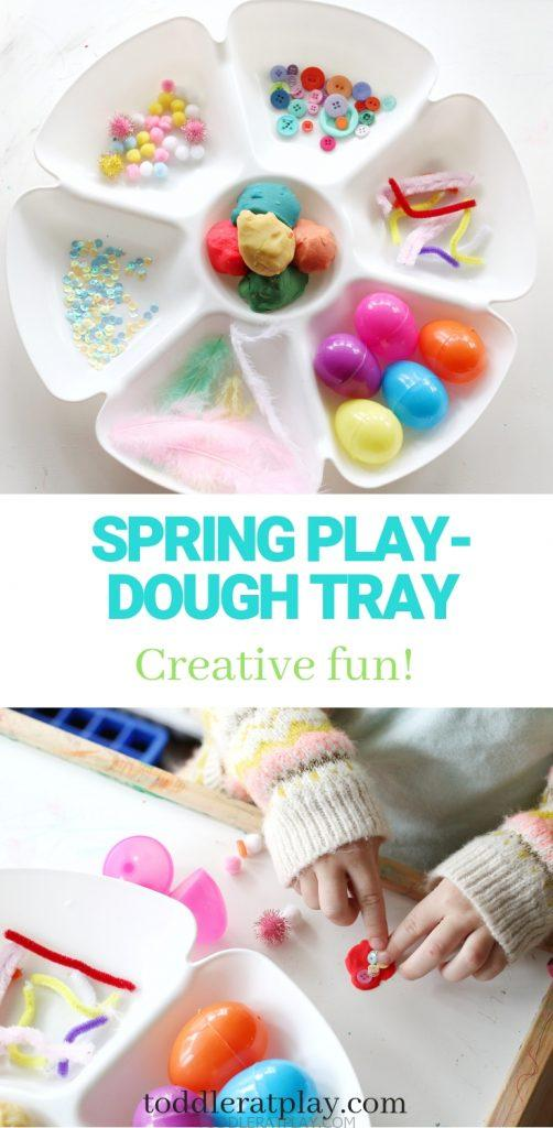spring play-dough tray- toddler at play (7)