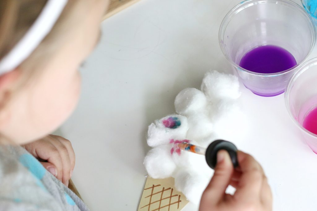 cotton ball ice cream craft- toddler at play