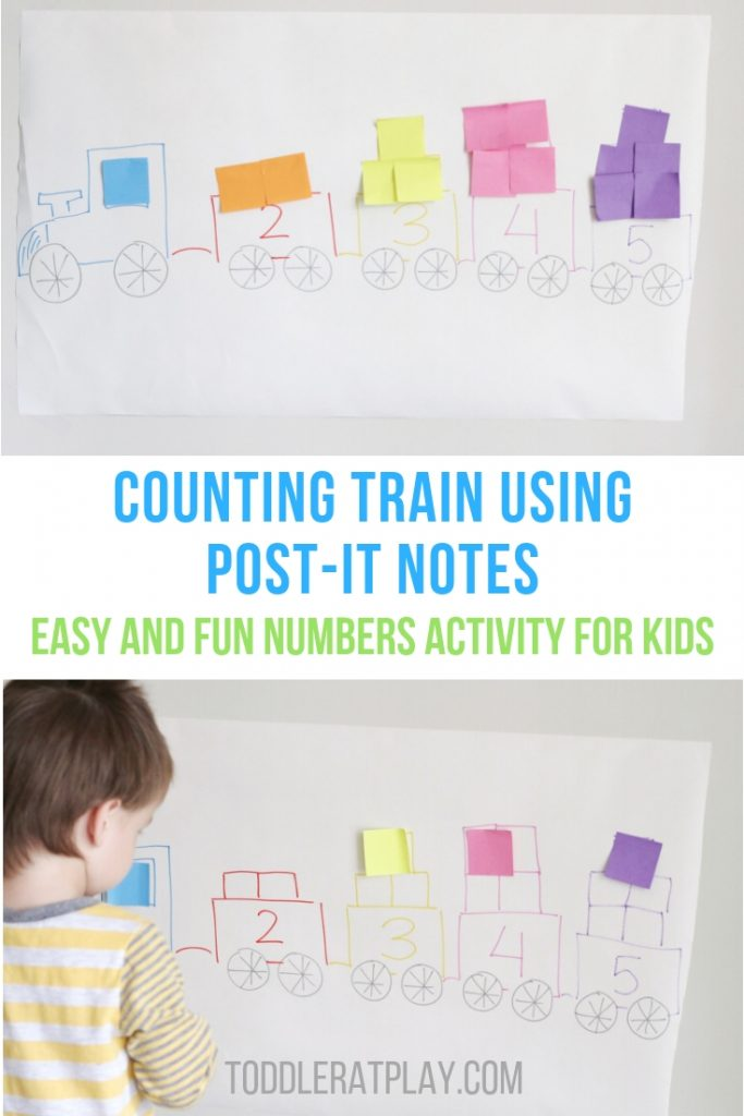 counting train using post it notes- toddler at play (1)