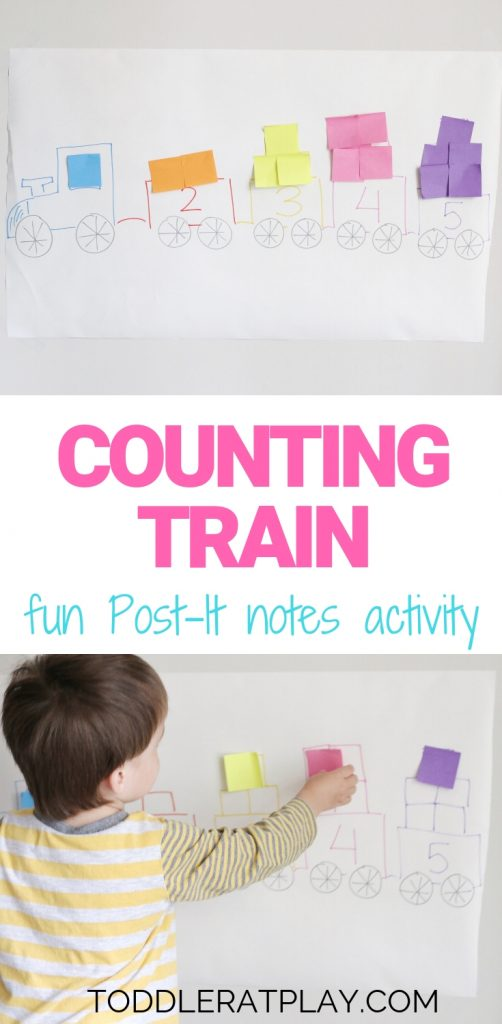counting train using post it notes- toddler at play (2)