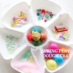 spring play-dough tray-toddler at play (3)