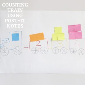 counting train using post-it notes- toddler at play (8)