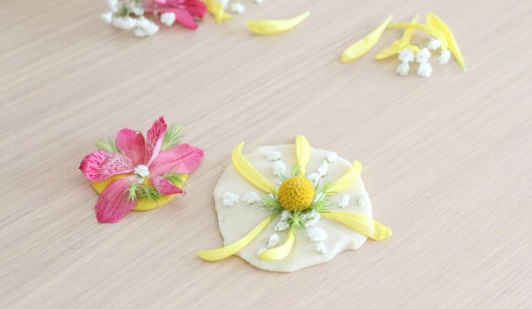 Floral Play-dough Medallions