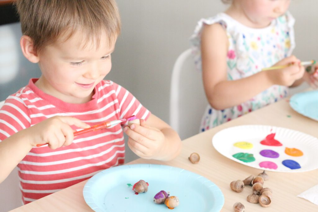 painting acorns- toddler at play (1)