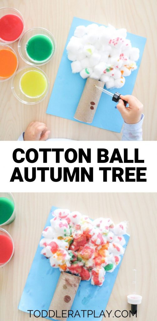 cotton ball autumn tree- toddler at play (2)
