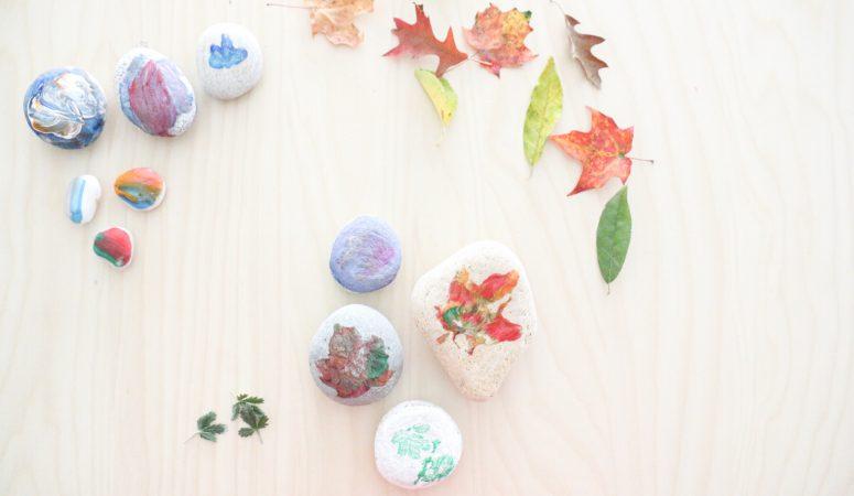 Leaf Prints on Stones