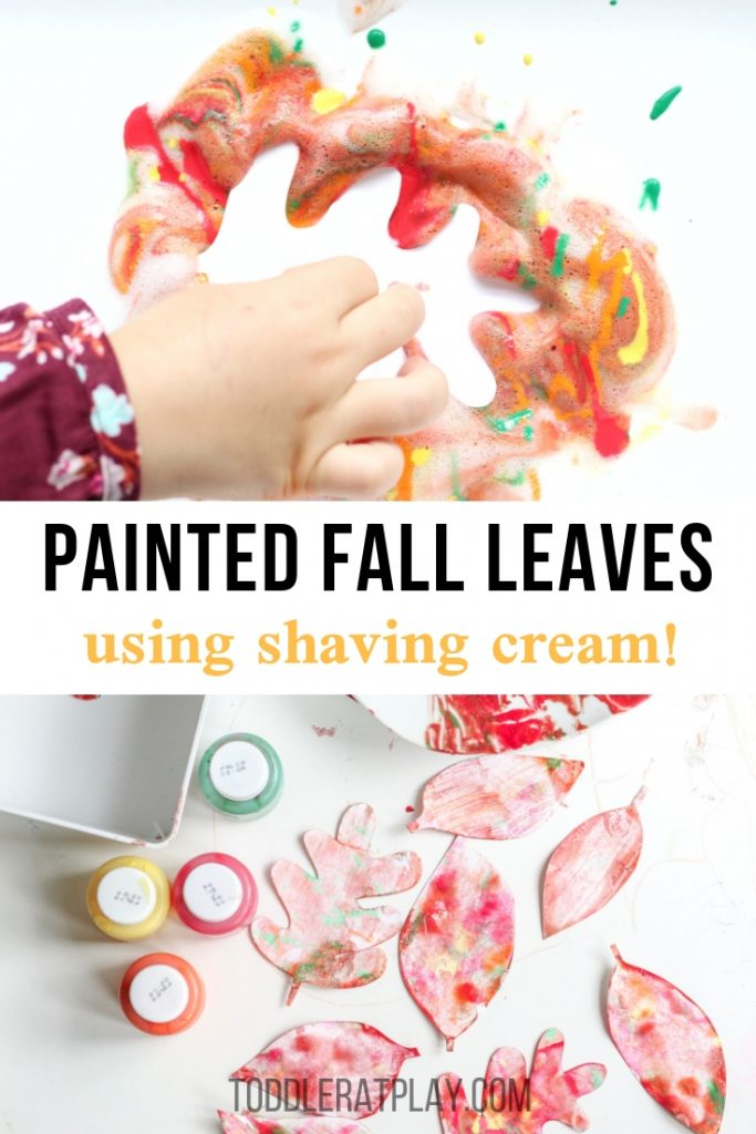 shaving cream painted fall leaves- toddler at play (2)