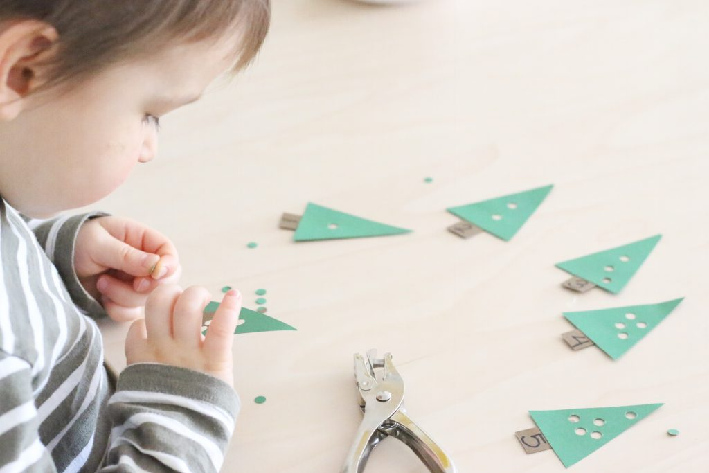 christmas tree hole punching activity- toddler at play (2)