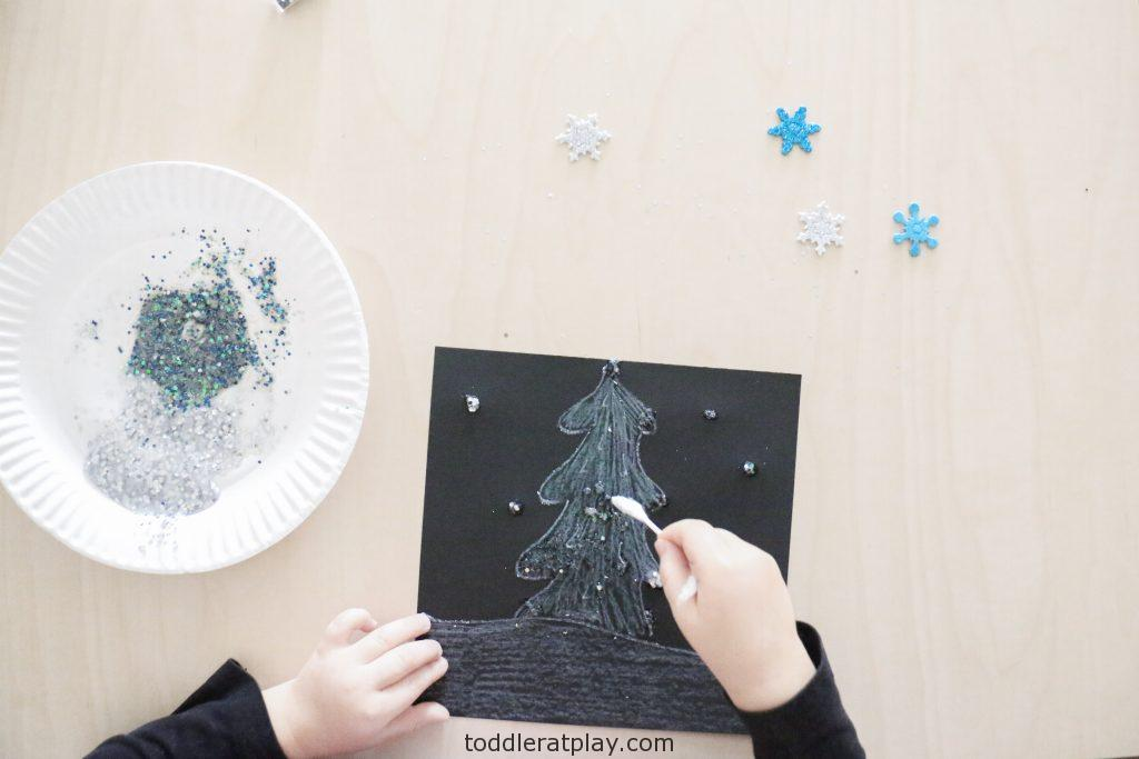 glittery winter scene craft- toddler at play (7)
