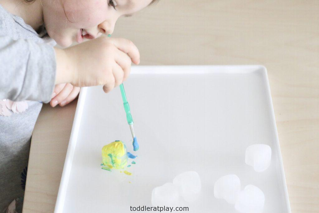 painting heart ice cubes- toddler at play