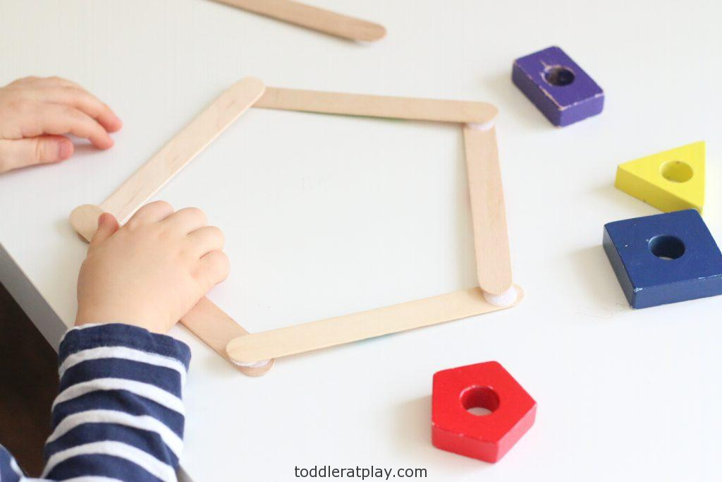 building popsicle stick shapes activity- toddler at play (5)