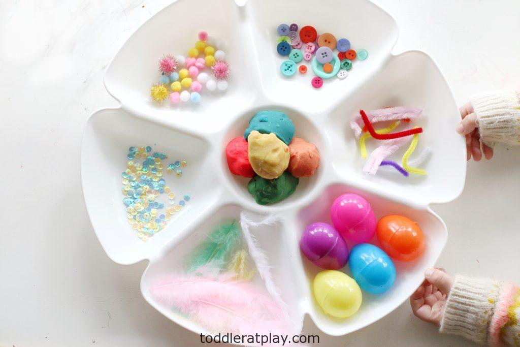 spring play-dough tray-toddler at play (11)