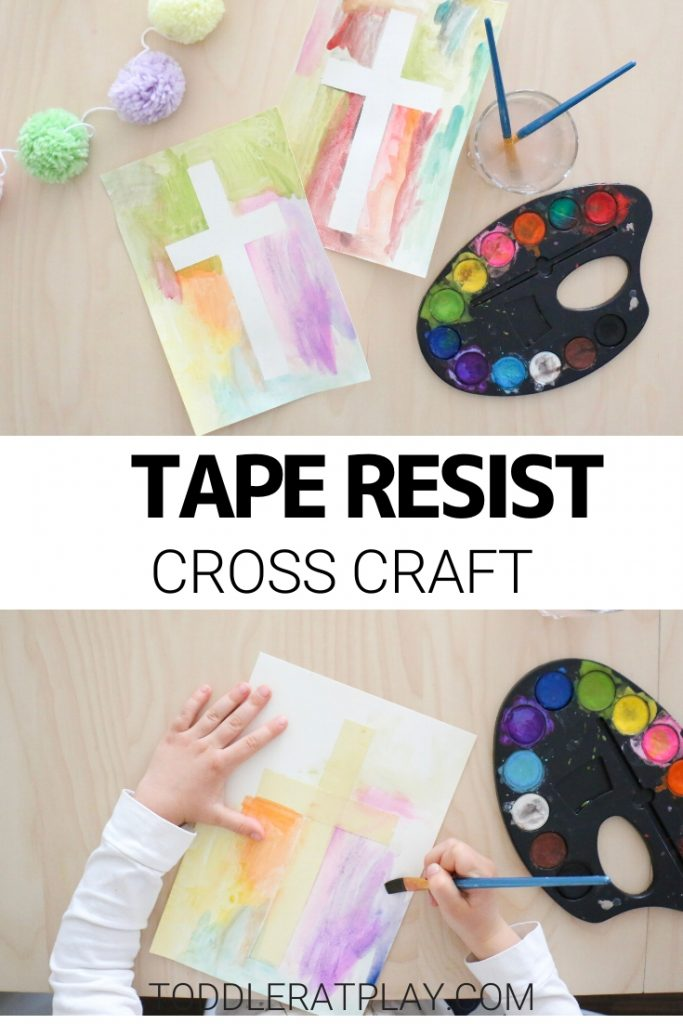This Tape Resist Cross Craft is a fun Easter craft idea for kids. You'll need only a few supplies and a bit of creativity to make these beautiful Easter crosses!